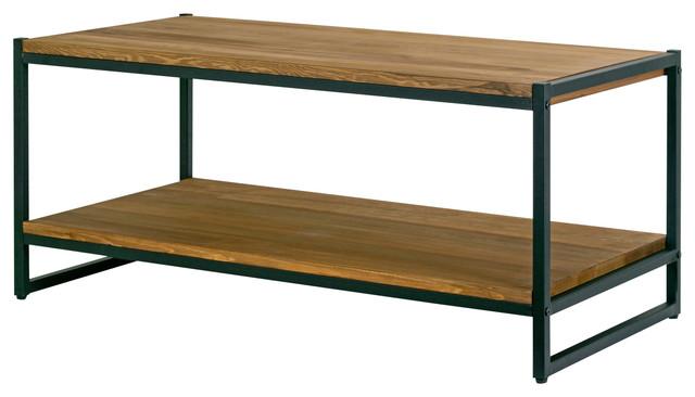 Ailis Brown Pine Wood Black Metal Frame Coffee Table industrial-coffee- tables