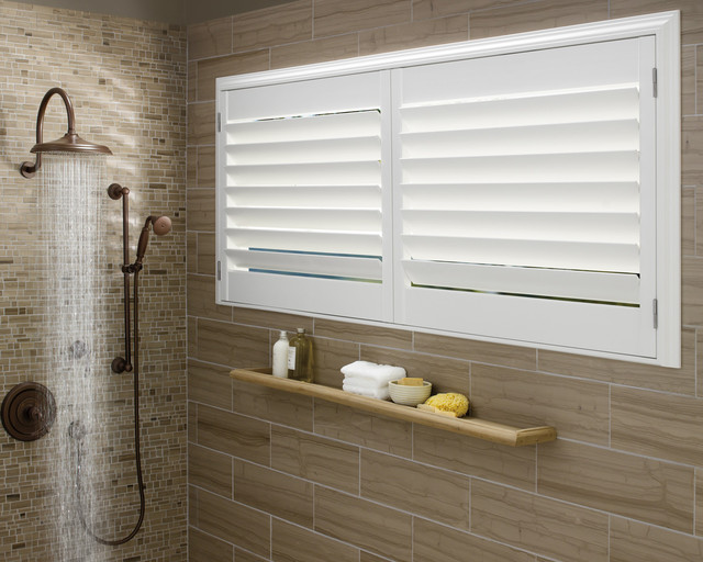 Vinyl Shutters In Master Bathroom Windows Contemporary Bathroom St Louis By Two Blind Guys