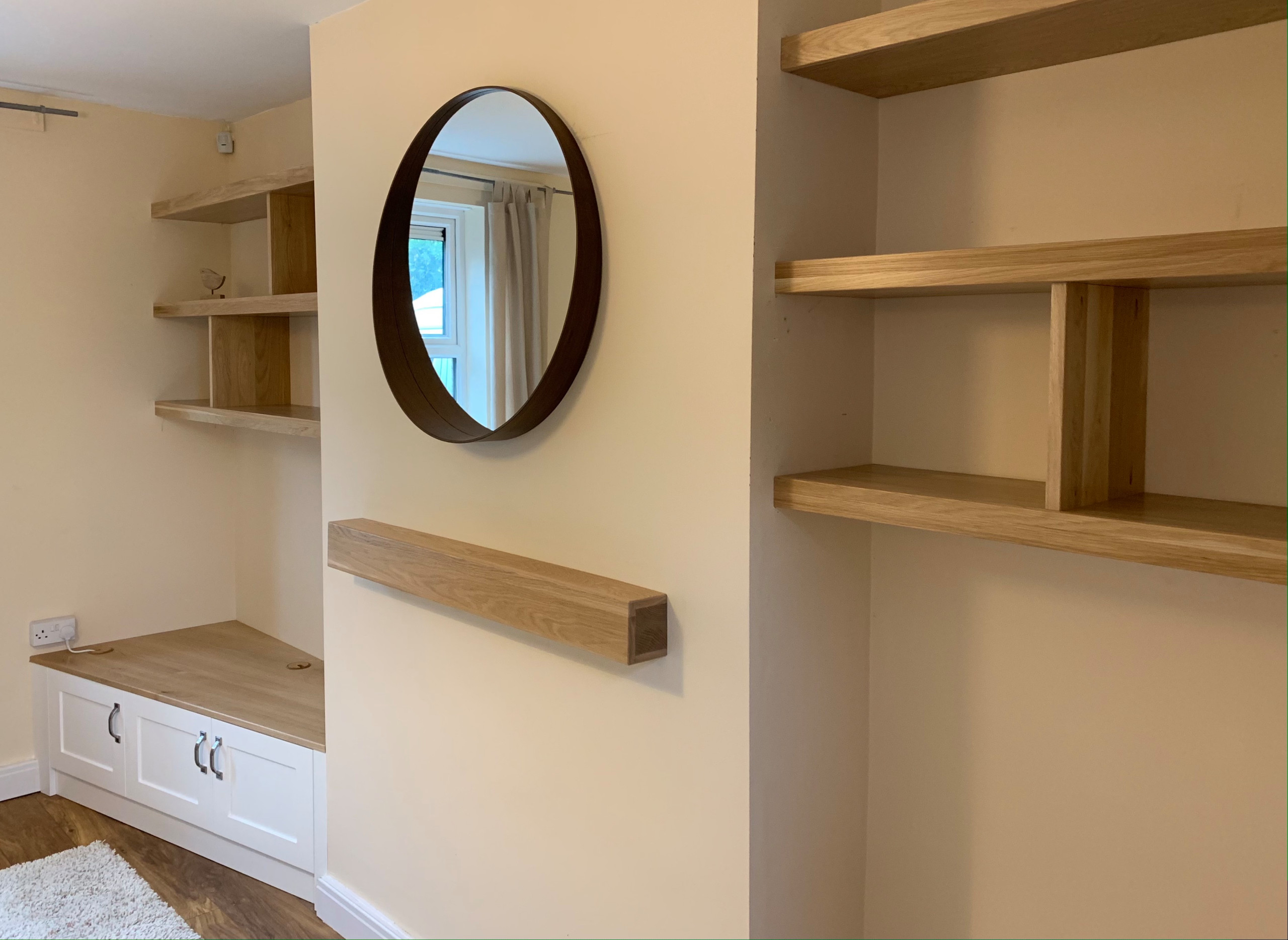Bespoke Fitted Alcove Furniture in Oak and White