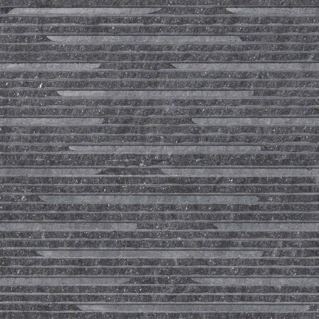 Royal Black Thin Veneers Grooved Surface 6x24 Marble