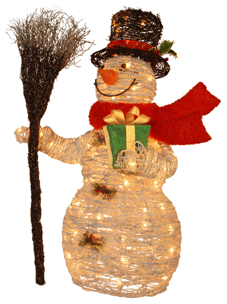 White Rattan Snowman Contemporary Holiday Accents And Figurines By National Tree Company