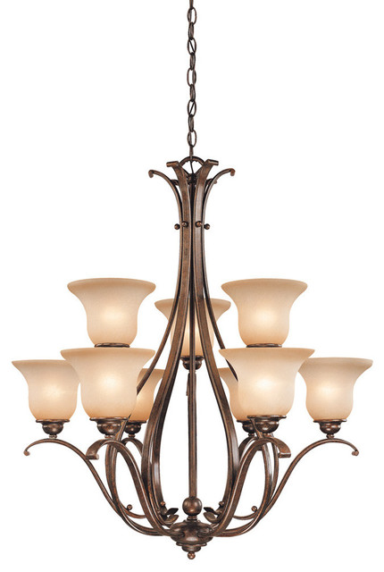 Vaxcel Lighting Monrovia 9 Light Two Tier Chandelier with Frosted Glass Shades