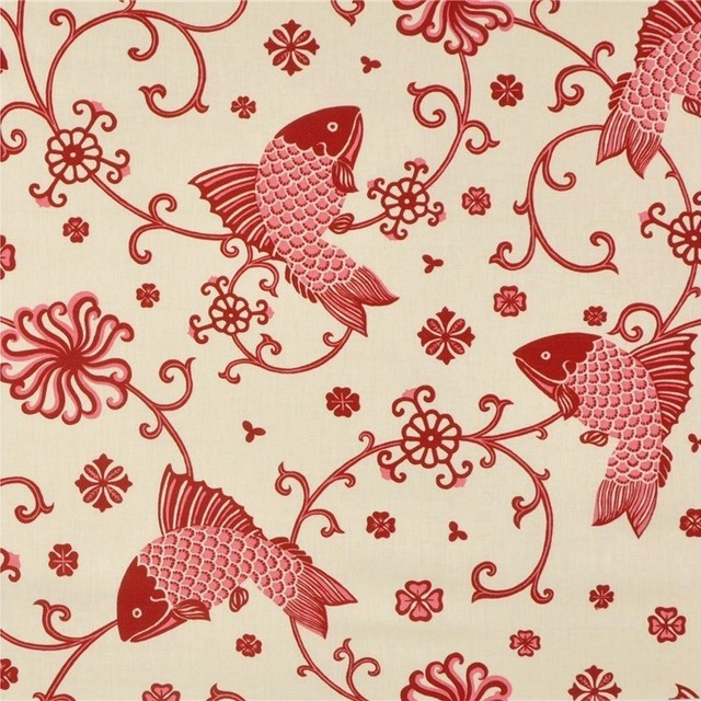 Lee Jofa Fabric Oriental Fishes Red On 949101.LJ.0