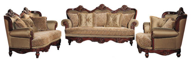 Luxury Traditional Living Room Furniture boudreaux luxury traditional living room 3-piece set - victorian