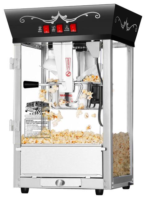 Great Northern Popcorn Antique Style 8 Oz. Matinee Popcorn Popper Machine, Black.