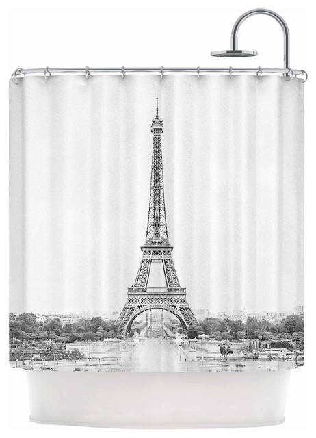 Paris Black White Travel Photography Shower Curtain