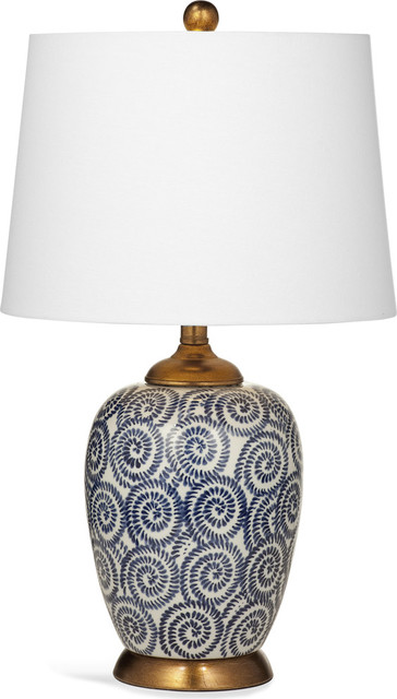 Bassett Mirrors Lawton Table Lamp In Navy And White.