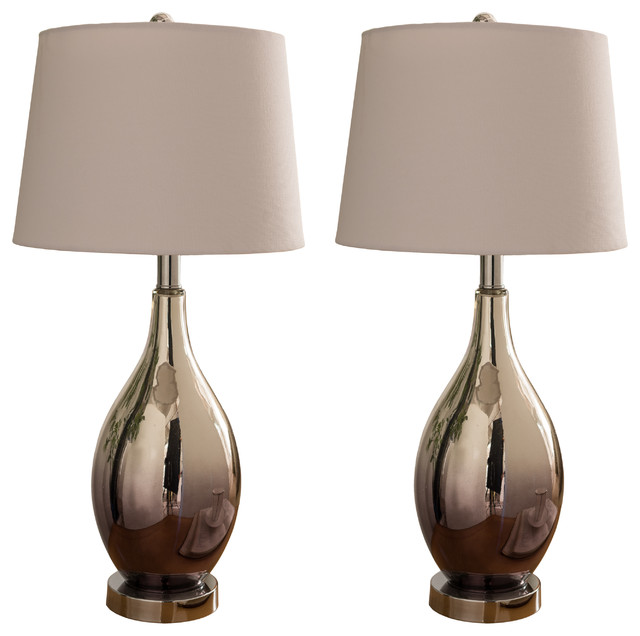 Chrome Glass Body & White Fabric Shade Contemporary Table Lamps, Set of 2 by Pilaster Designs