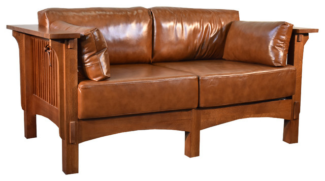 Quarter Sawn Oak And Leather Love Seat