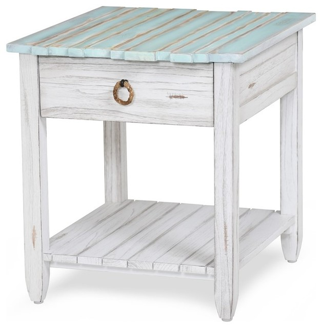 Picket Fence End Table Distressed Blue