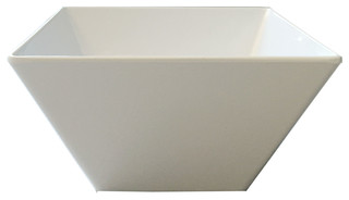 Melamine Square Deep Salad Bowl 2 Piece Set White