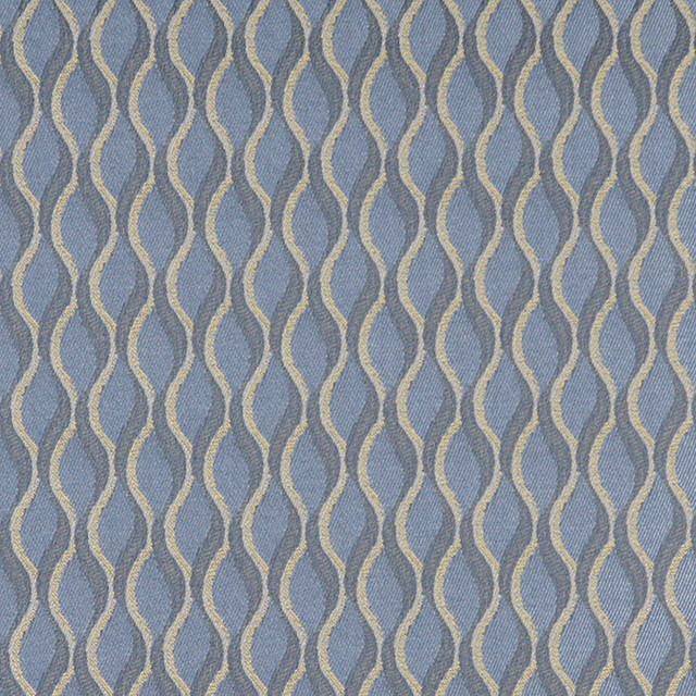Blue And Gold Wavy Striped Durable Upholstery Fabric By