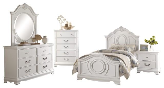 5-Piece Libby Girls Cottage Twin Bed, Dresser, Mirror, Nightstand, Chest  White