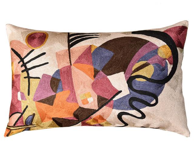Lumbar Kandinsky Ivory Decorative Pillow Cover Rectangle Art Silk, 13″x21″.