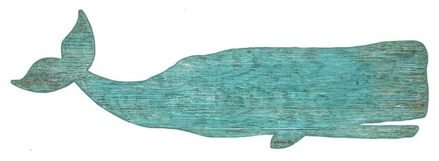 Suzanne Nicoll Silhouette Whale Wood Panel Sign.