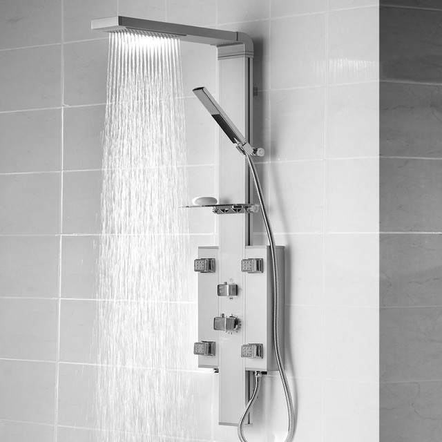 Lovely Thermostatic Shower Panel Tower System U0026 Fixed Head 4 Jets Handset And Shelf