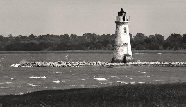 """Cockspur Lighthouse, Tybee Island, Georgia"", Black and White Photography, 12x18"