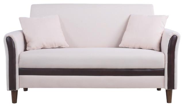 Modern 2 Tone Small Space Linen Fabric Loveseat, Beige