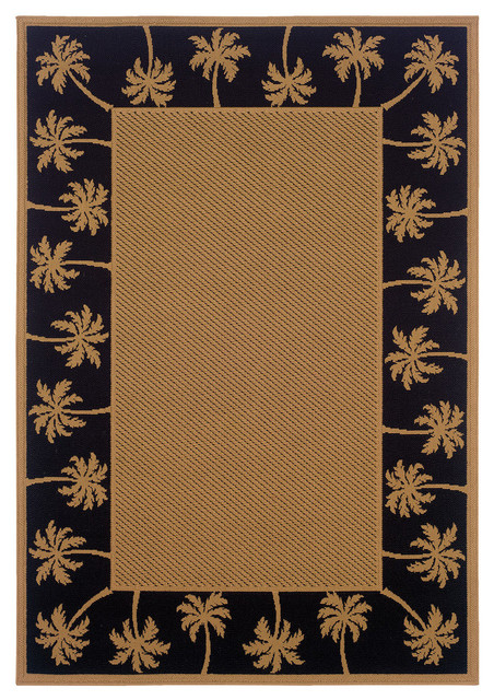 Oriental Weavers Lanai Collection Beige/Black   Tropical   Outdoor Rugs    By Oriental Weavers USA, Inc.