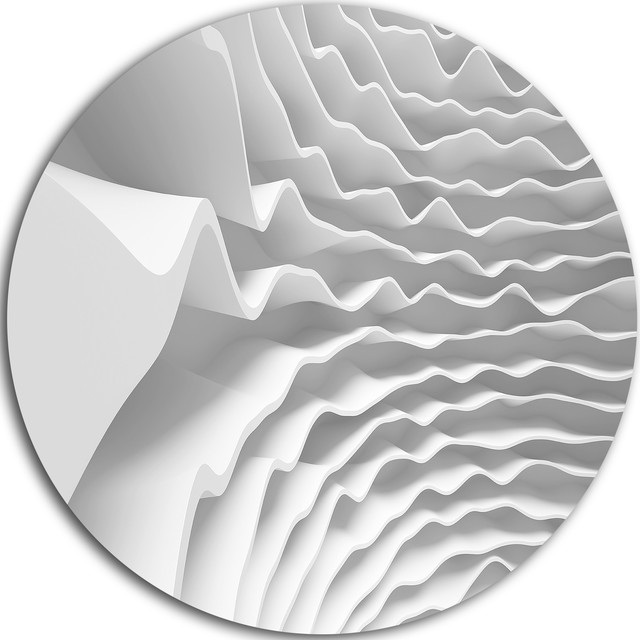 "Fractal Curved White 3d Waves, Abstract Art Round Wall Art, 11"". -2"