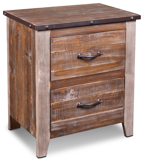 Industrial Style Solid Wood Square Storage Trunk 5 Drawer: Bayview Rustic Industrial Solid Wood 2-Drawer Nightstand