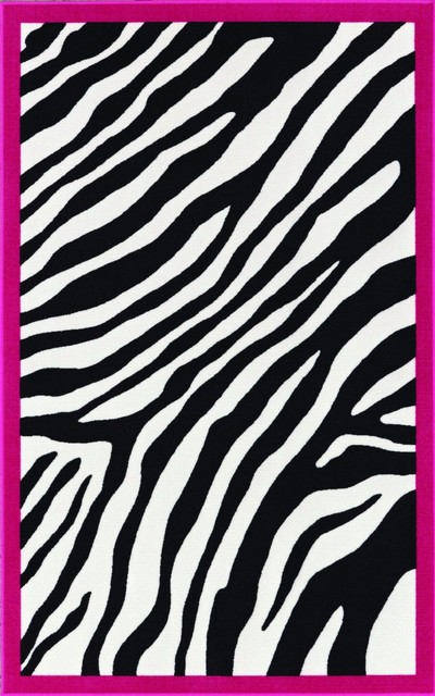 Nice Retro Zebra Patterned Kids Pink Border Area Rug, 4u0027 Kids Rugs