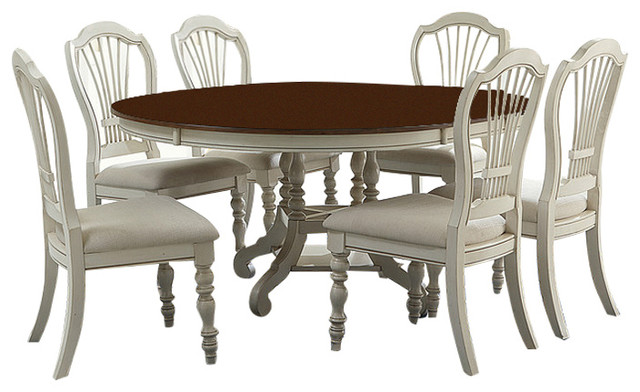 Pine Island 7 Piece Round Dining Set With Wheat Back Chairs