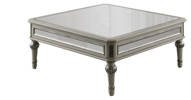 Emory Antique Cream With Mirrored Square Coffee Table