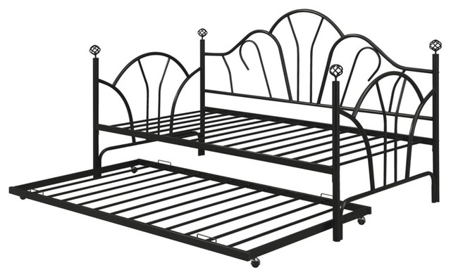Modern Metal Twin Trundle With 14 Slats, Black.
