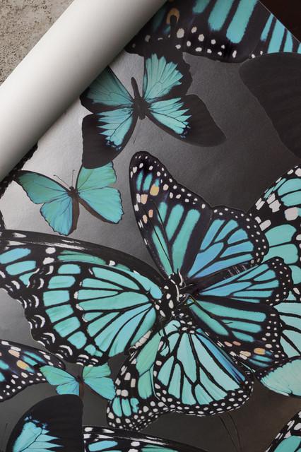 Butterflies Wallpaper, Turquoise, 3 Yards