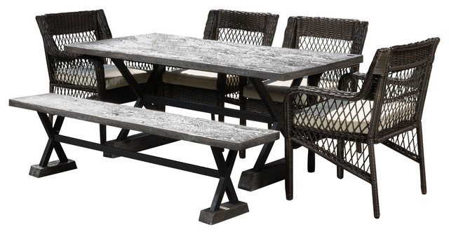Bedell Outdoor Picnic Brown Dining 6-Piece Set.