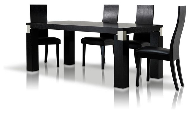 Escape 71 Black Oak Veneer Finish Dining Table With Grey Accents