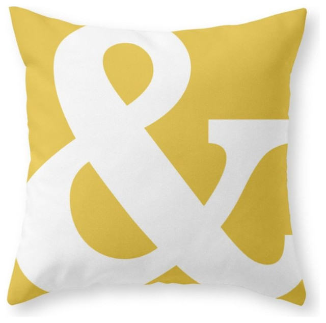 ampersand mustard yellow throw pillow contemporary. Black Bedroom Furniture Sets. Home Design Ideas
