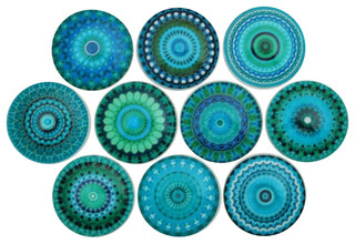 Turquoise Mandala Cabinet Knobs, 10-Piece Set - Eclectic - Cabinet ...
