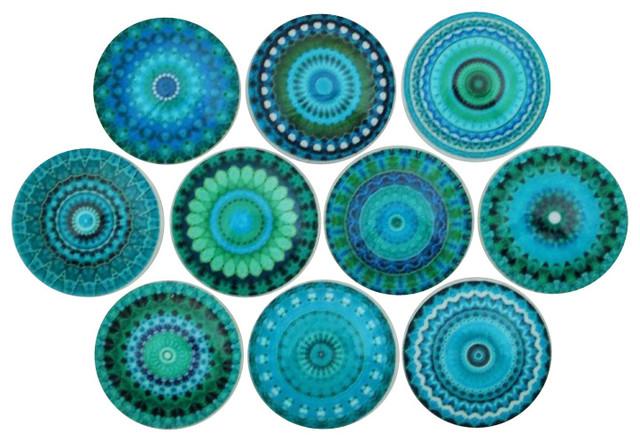 Turquoise Mandala Cabinet Knobs, 10-Piece Set