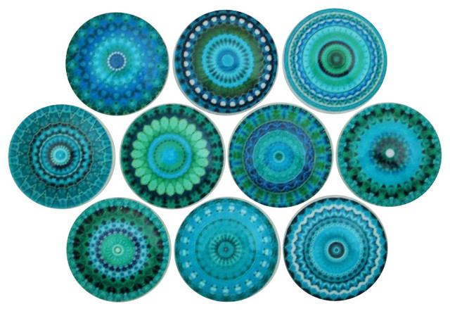 Mandala Cabinet Knobs, Set of 10, Turquoise - Contemporary - Cabinet And Drawer Knobs - by ...