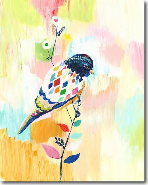 """""""harlequin Bird"""" Artwork By Starla Michelle Halfmann, 12""""x15""""."""