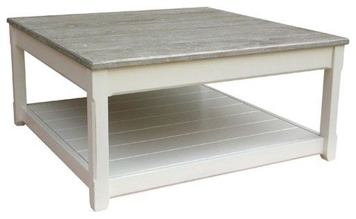 Coffee Table Painted White River Wash Traditional Coffee Tables