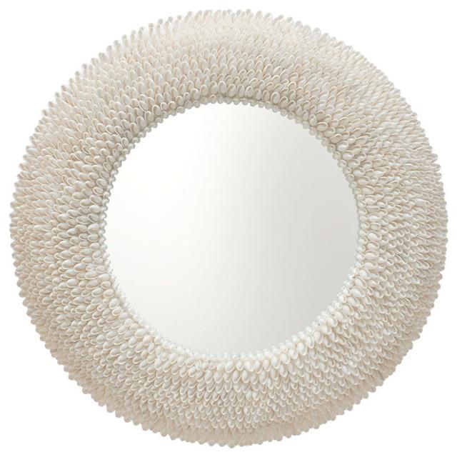 Round Bubble Seashell Wall Mirror.