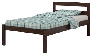 Donco Kids Econo Slat Bed With Rollout Trundle Bed, Dark Cappuccino, Twin