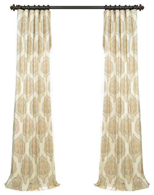 """Arabesque Tan Printed Cotton Twill Curtain, 50""""x96""""."""