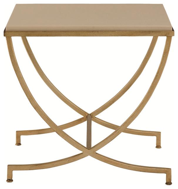 Flora Hollywood Regency Soft Gold Steel Stone Side End Table
