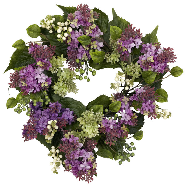 """Nearly Natural 20"""" Hanel Lilac Wreath."""