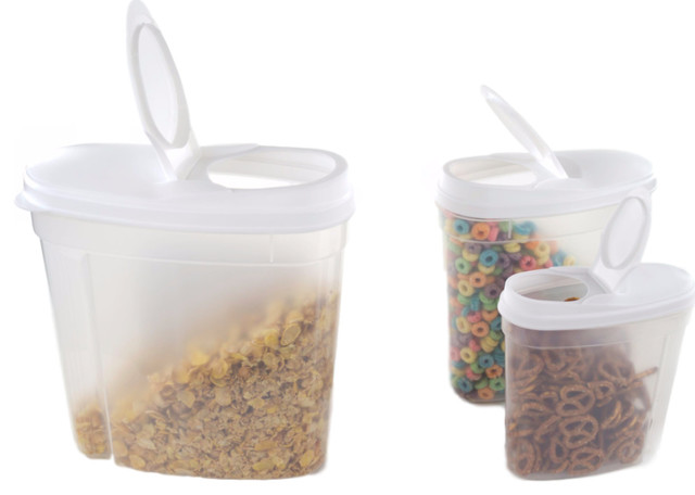 3 Piece Plastic Cereal Dispenser Set Food Storage Containers With White Lids