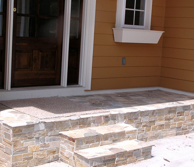 Light Stone Porch Traditional Porch Detroit By