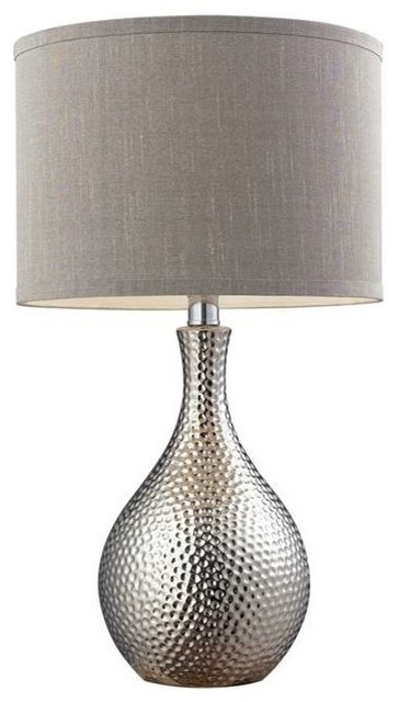 "22"" Hammered Chrome Table Lamp in Chrome, Standard"