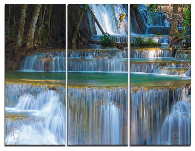 """deep Forest Waterfall Thailand"" Photo Canvas Print, 3 Panels, 36""x28""."