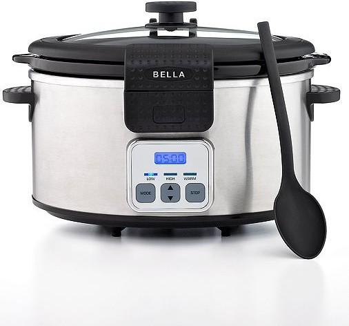 Bella 13722 Slow Cooker, 6 Qt. Stainless Steel Programmable with Locking Lid