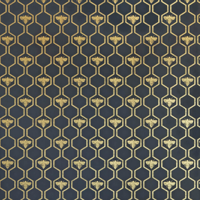 Honey Bees Wallpaper, Gold On Charcoal.