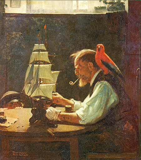 Old Sea Captain By Norman Rockwell Oil Painting Reproduction 15x13